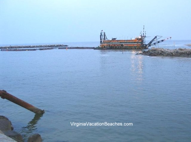 Beach Restoration Pumping Barge at Rudee Inlet - 2004
