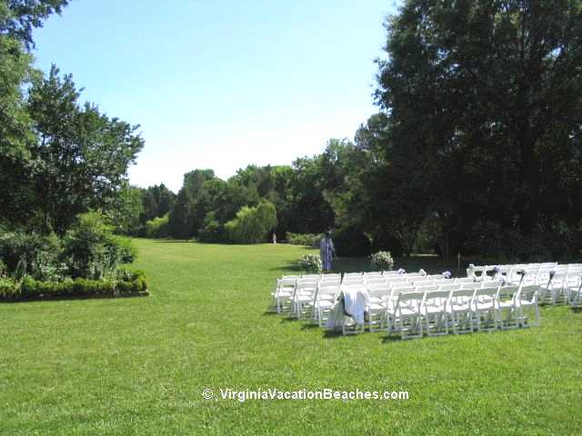 Berkley Plantation Gardens set up for outdoor Wedding - Virginia Vacation Day Trip