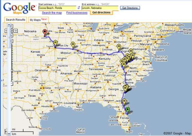Google Maps Road Trip Usa